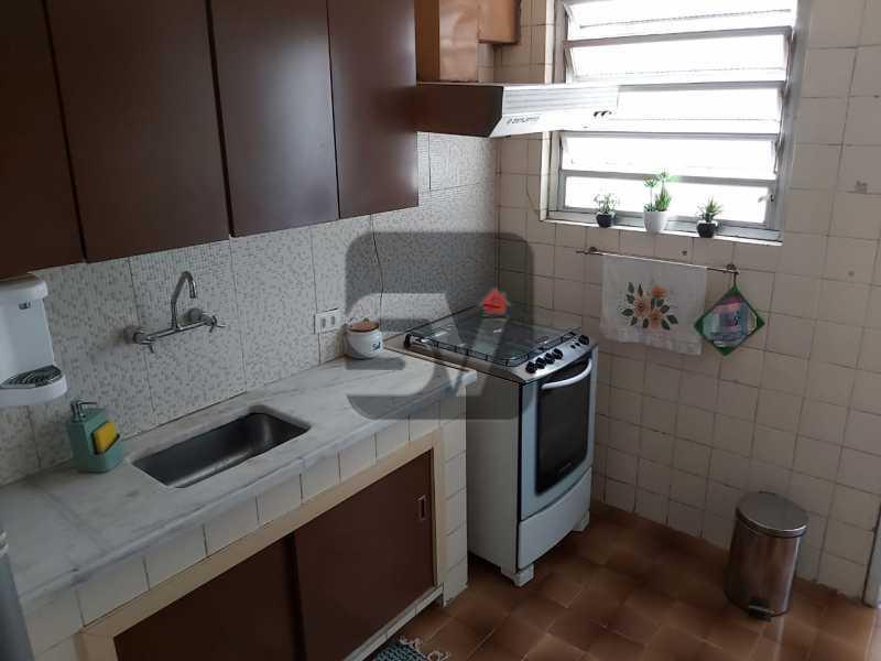 Cozinha - Rua nobre. Quarto e sala. 60 m². Vaga na escritura. Flamengo. Varanda - SVAP10055 - 12