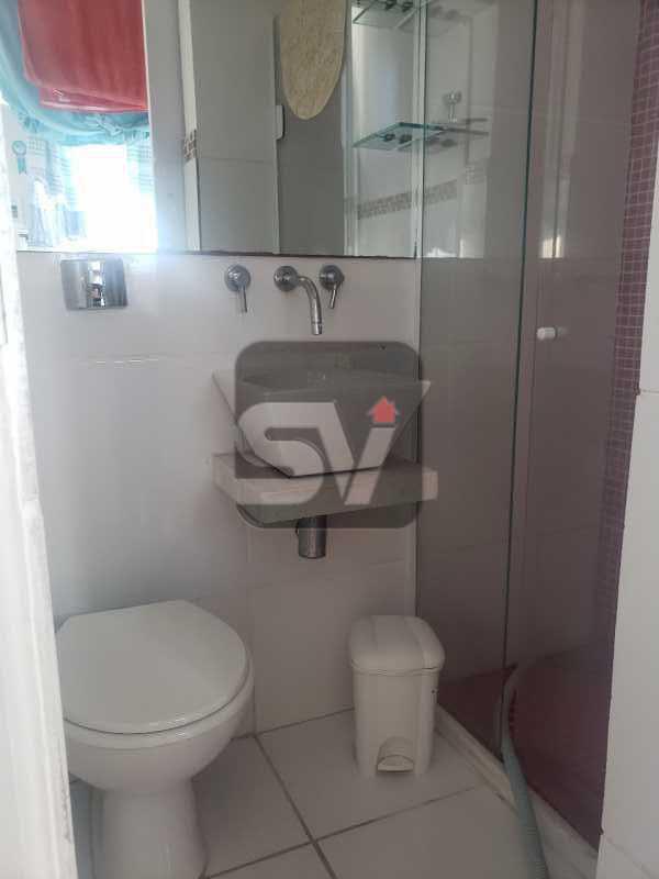 Banheiro de serviço - Mobiliado. Reformado. 2 quartos. Botafogo. Vista. Varanda. - SVAP20108 - 22