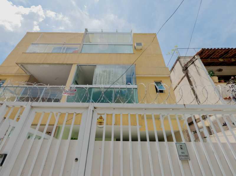Fachada - Casa Triplex Geminada com 130m² na Rua Jose Silva, Pechincha - RECA30006 - 4