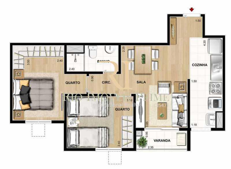 PLANTA - Apartamento 2 quartos para alugar Rocha, Rio de Janeiro - R$ 1.100 - RPAP20236 - 15