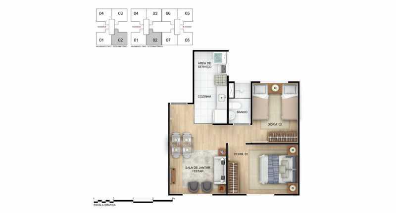 planta 2 dorm - Apartamento à venda Rio de Janeiro,RJ - R$ 140.000 - MTAP00007 - 9