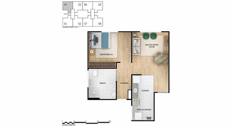 Planta 1 qto - Apartamento à venda Rio de Janeiro,RJ - R$ 193.333 - MTAP00012 - 10