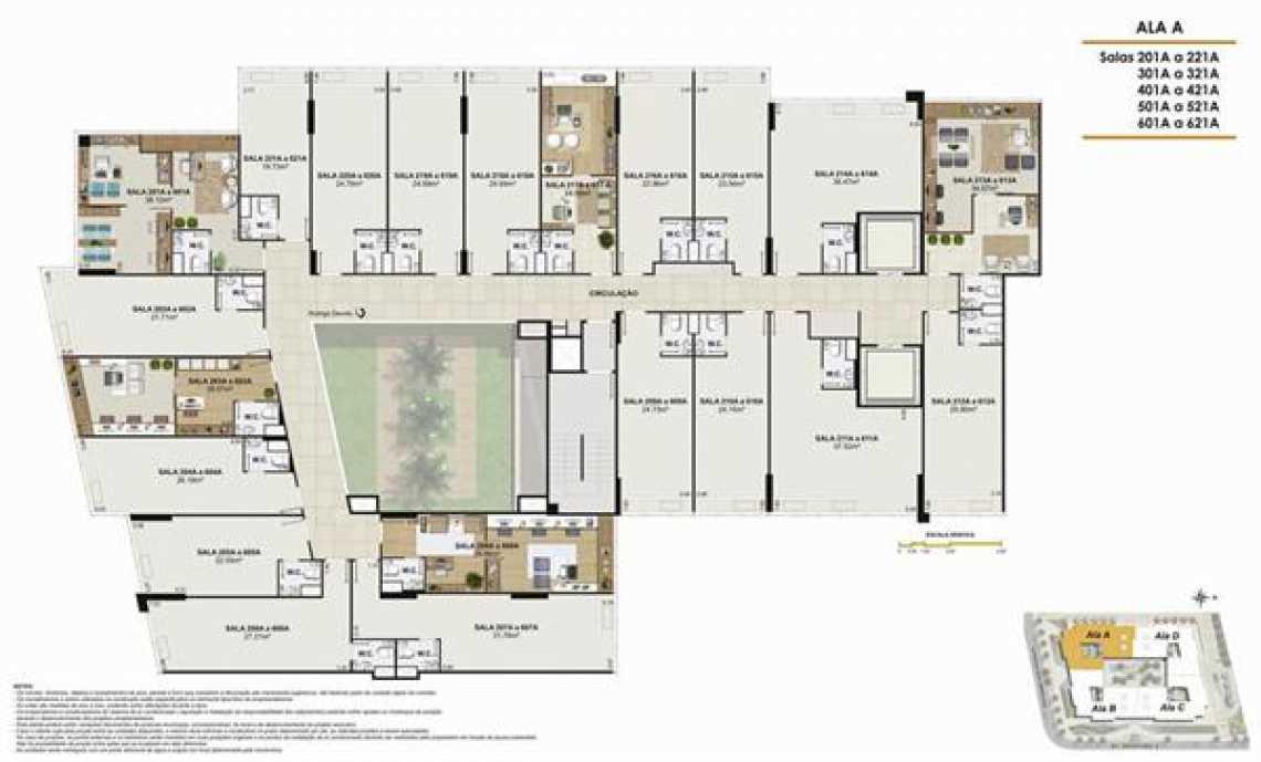 PLANTA ALA A - Fachada - One Offices - 70 - 17