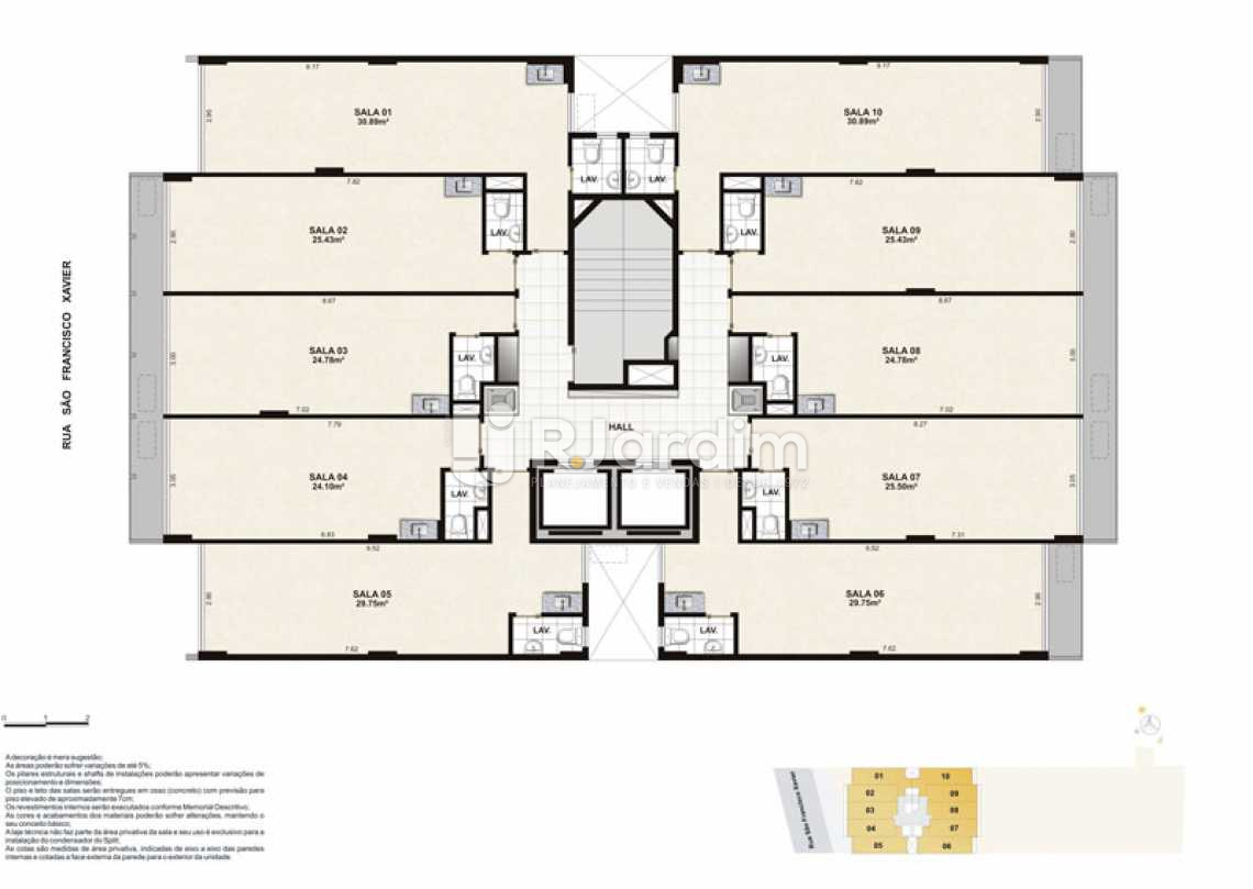 PAVIMENTO TIPO - Sala Comercial 30m² à venda Tijuca, Zona Norte - Grande Tijuca,Rio de Janeiro - R$ 343.500 - LASL00004 - 19