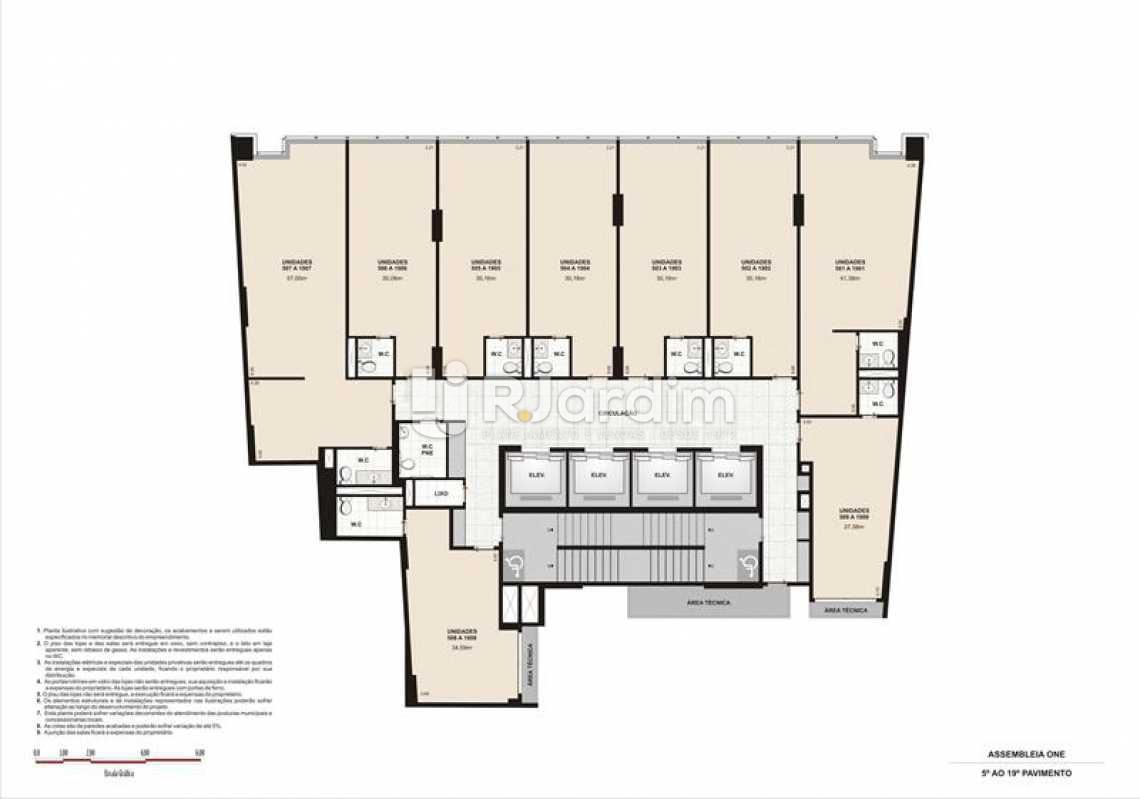 PLANTA TIPO 1 SECA  - Lançamento Assembleia One Imóveis Compra e Venda Imóveis Comerciais Zona Centro Salas E Andares - LASL00035 - 12
