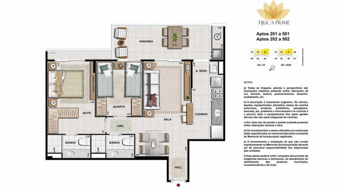 PLANTA 201 A 501 E 202 A 502 - Apartamento Maracanã, Zona Norte - Grande Tijuca,Rio de Janeiro, RJ À Venda, 2 Quartos, 62m² - LAAP20459 - 15