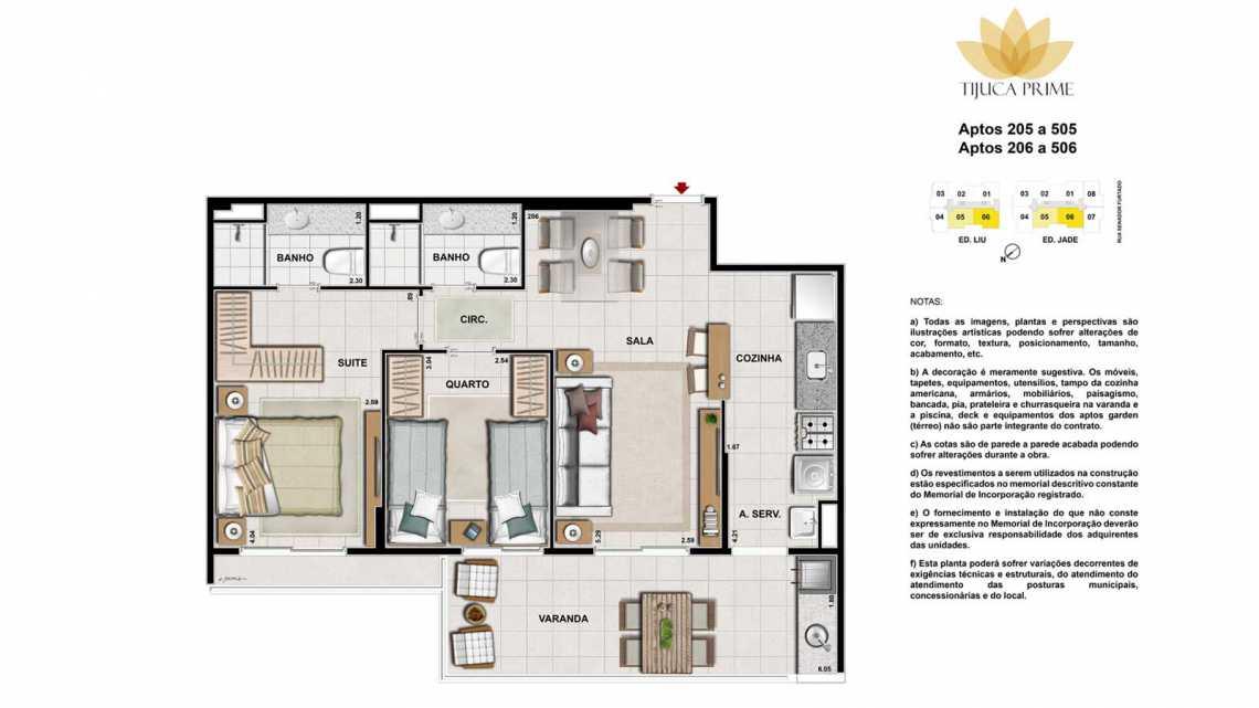 PLANTAS 205 A 505 E 206 A 506 - Apartamento Maracanã, Zona Norte - Grande Tijuca,Rio de Janeiro, RJ À Venda, 2 Quartos, 62m² - LAAP20459 - 17