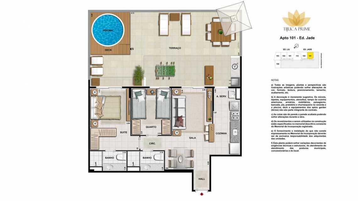 PLANTA 101 ED JADE - Apartamento Maracanã, Zona Norte - Grande Tijuca,Rio de Janeiro, RJ À Venda, 2 Quartos, 62m² - LAAP20459 - 18