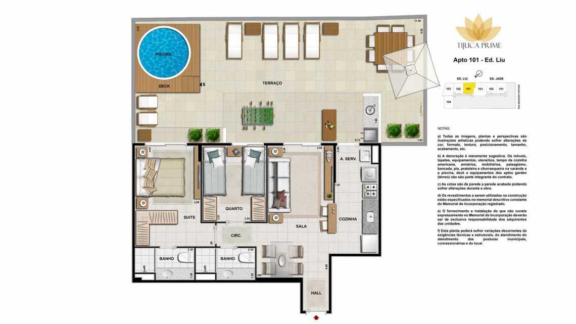 PLANTA APT 101 - Apartamento Maracanã, Zona Norte - Grande Tijuca,Rio de Janeiro, RJ À Venda, 2 Quartos, 62m² - LAAP20459 - 22