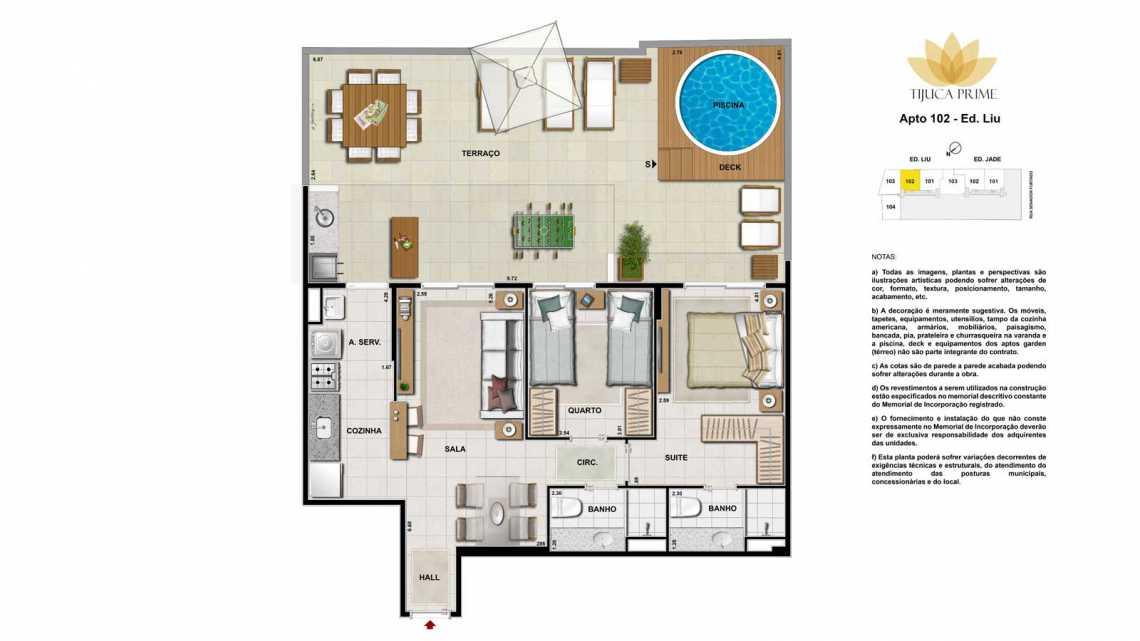PLANTA APT 102 - Apartamento Maracanã, Zona Norte - Grande Tijuca,Rio de Janeiro, RJ À Venda, 2 Quartos, 62m² - LAAP20459 - 23