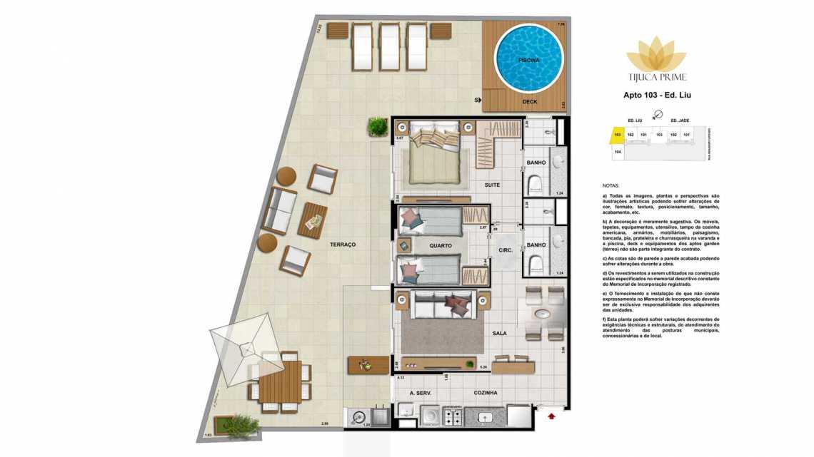 PLANTA APT 103 - Apartamento Maracanã, Zona Norte - Grande Tijuca,Rio de Janeiro, RJ À Venda, 2 Quartos, 62m² - LAAP20459 - 24