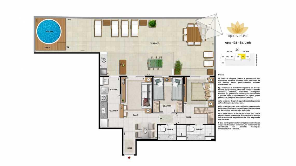 PLANTA 102 ED JADE - Apartamento Maracanã, Zona Norte - Grande Tijuca,Rio de Janeiro, RJ À Venda, 2 Quartos, 70m² - LAAP20460 - 19