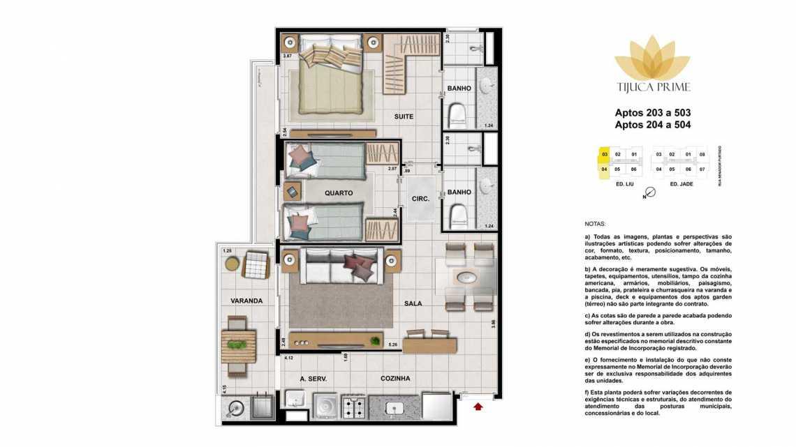 PLANTA 203 A 503 E 204 A 504 - Apartamento Maracanã, Zona Norte - Grande Tijuca,Rio de Janeiro, RJ À Venda, 2 Quartos, 70m² - LAAP20460 - 21