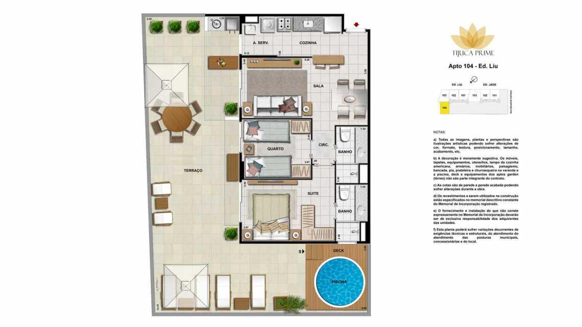 PLANTA APT 104 - Apartamento Maracanã, Zona Norte - Grande Tijuca,Rio de Janeiro, RJ À Venda, 2 Quartos, 70m² - LAAP20460 - 25