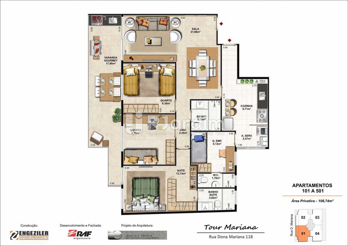 PLANTA 101 A 501 - Tour Mariana Apartamentos 3 Quartos Botafogo Zona sul Rio de Janeiro RJ - LAAP30731 - 8