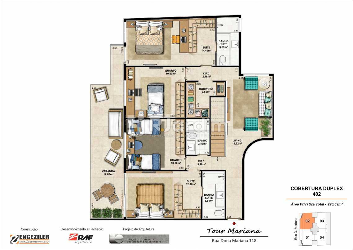 PLANTA 402 INFERIOR - Tour Mariana Apartamentos 3 Quartos Botafogo Zona sul Rio de Janeiro RJ - LAAP30731 - 11