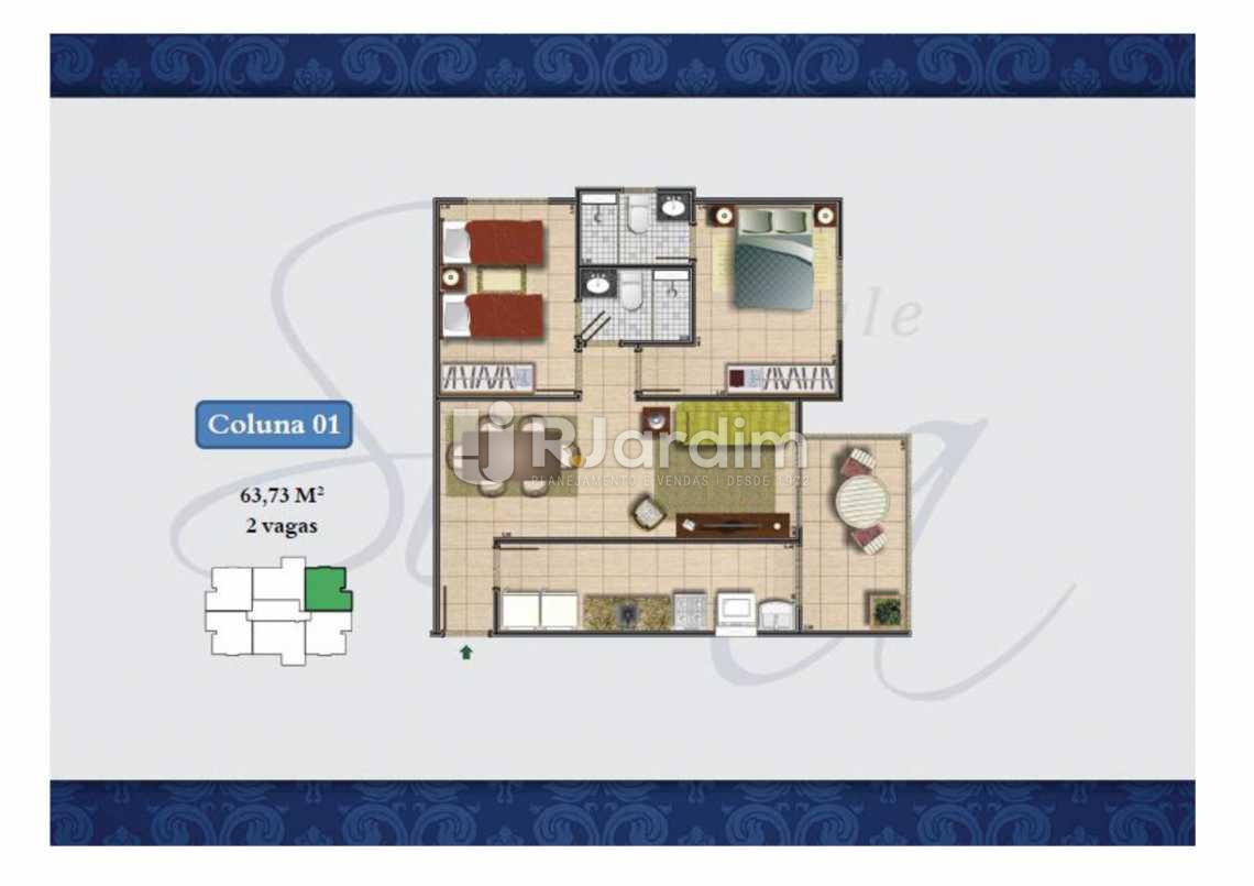 PLANTA COL 1 63,73M² - Apartamento Méier,Rio de Janeiro,RJ À Venda,2 Quartos,61m² - LAAP20552 - 16
