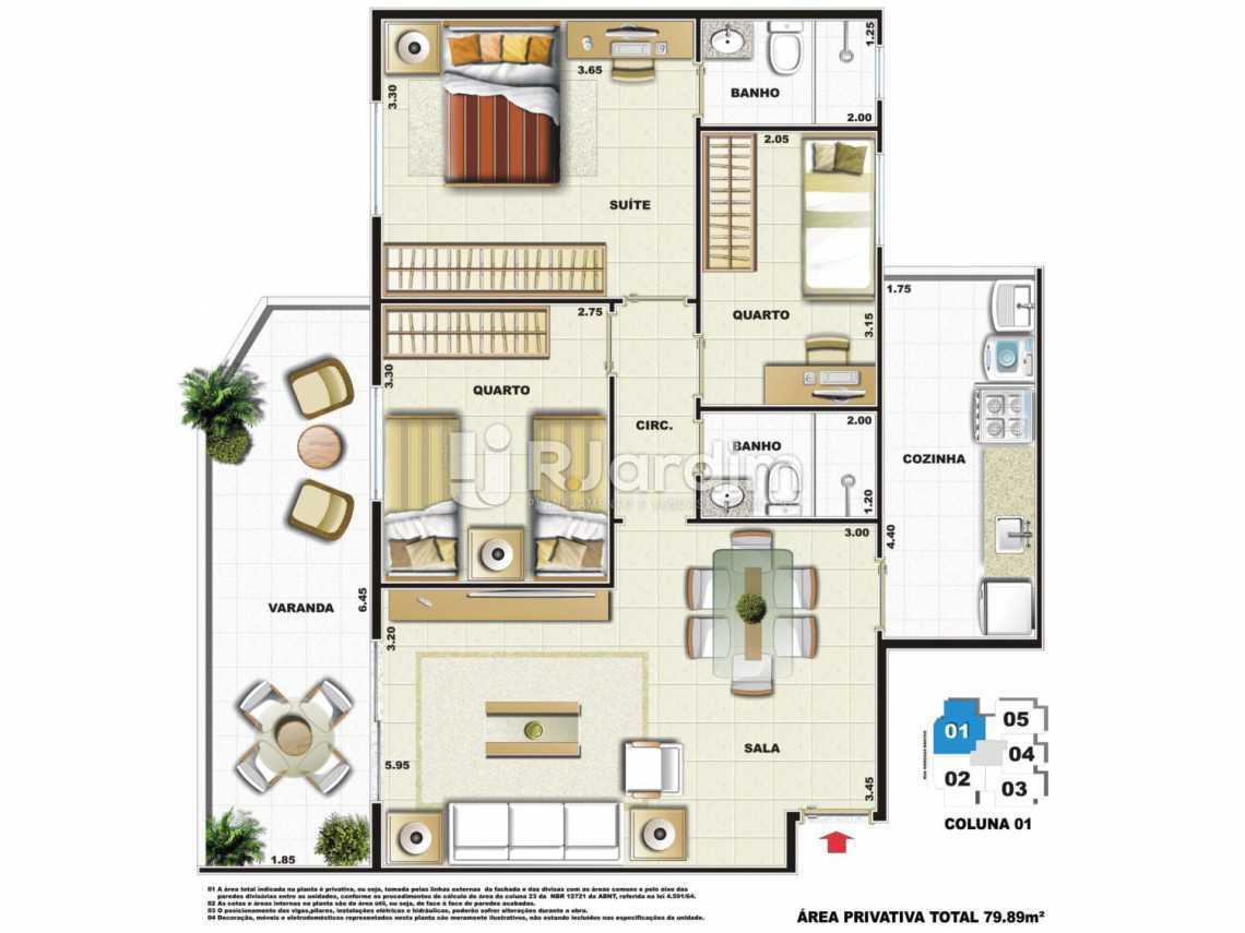 PLANTA COLUNA 1 - Apartamento Vila Isabel,Zona Norte - Grande Tijuca,Rio de Janeiro,RJ À Venda,3 Quartos,79m² - LAAP31979 - 5
