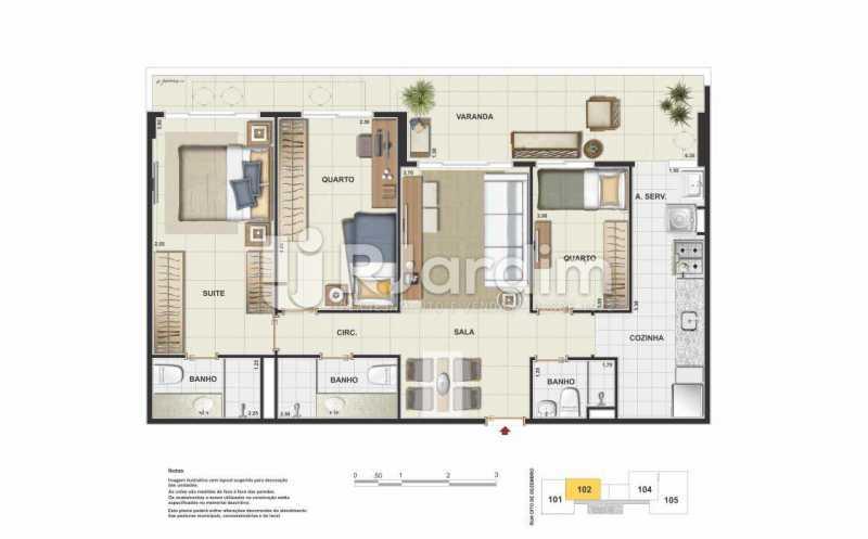 PLANTA - Apartamento Vila Isabel, Zona Norte - Grande Tijuca,Rio de Janeiro, RJ À Venda, 2 Quartos, 66m² - LAAP21437 - 5
