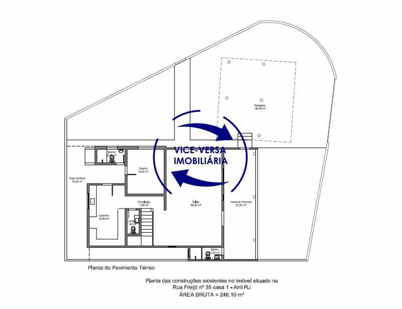 planta-pavimento-terreo - EXCLUSIVIDADE!!! Casa duplex À venda no Condomínio Bosque dos Esquilos esquina com a Rua Flordelice - 4 quartos, suítes, centro de terreno! - 1291 - 25