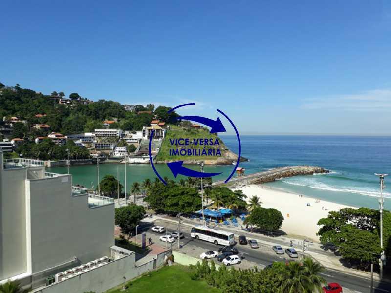 vista - Flat À venda no Jardim Oceânico - Avenida do Pepê, splits na sala e no quarto, varanda, cozinha, área de serviço! - 1293 - 9