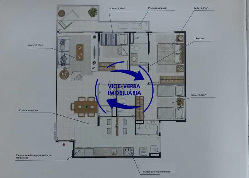 planta - EXCLUSIVIDADE!!! Apartamento À venda no Condomínio Rossi Litorâneo - 92m², 3 quartos (2 suítes), copa-cozinha, lavanderia e banheiro de serviço, vagas, infraestrutura completa! - 1332 - 17