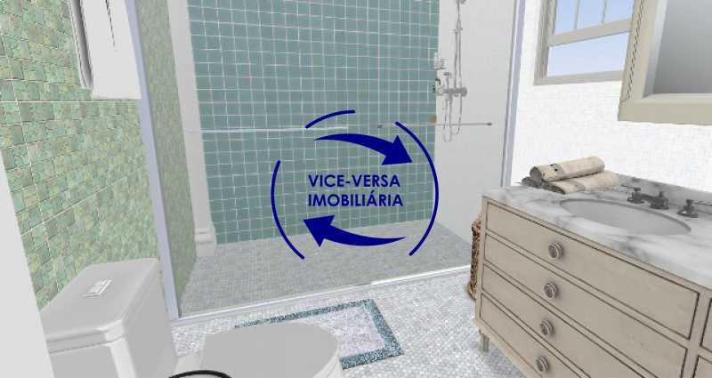 banheiro-social-simulacao - Ótimo investimento! Apartamento com 100m², Rua Xavier da Silveira, 1 quadra da Praia de Copacabana, 2 quadras do Metrô Cantagalo. Sala, 3 quartos com dependências completas de empregada. - 1363 - 25