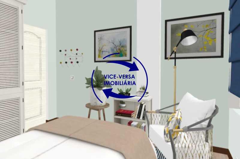 primeiro-quarto-simulacao - Ótimo investimento! Apartamento com 100m², Rua Xavier da Silveira, 1 quadra da Praia de Copacabana, 2 quadras do Metrô Cantagalo. Sala, 3 quartos com dependências completas de empregada. - 1363 - 15