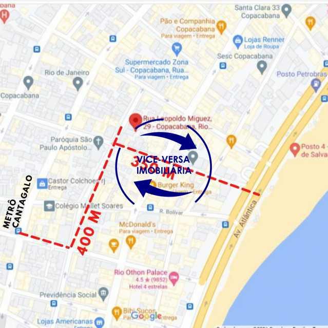 Vista do Google - Belíssimo apartamento À venda na Rua Leopoldo Miguez - Copacabana - 110m², 3 amplos quartos repletos de armários, garagem, 350m da praia e 400m do metrô Cantagalo. - 1399 - 31