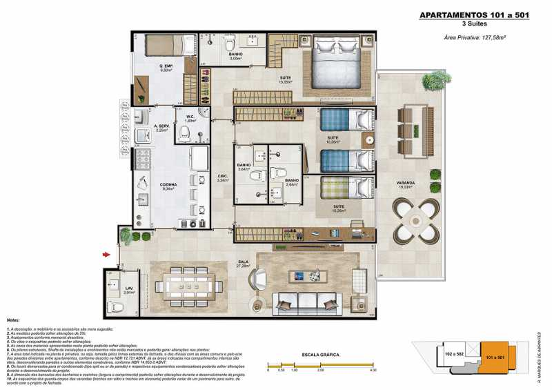 Planta 3 suites - Fachada - Harmonie - 69 - 15