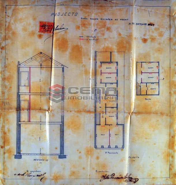 1. planta antiga do prédio - Terreno 425m² à venda Santa Teresa, Zona Centro RJ - R$ 3.000.000 - LAUF00011 - 1