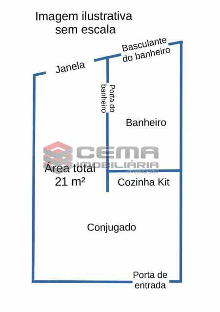 Planta baixa - Kitnet/Conjugado 21m² à venda Flamengo, Zona Sul RJ - R$ 335.000 - LAKI01443 - 6