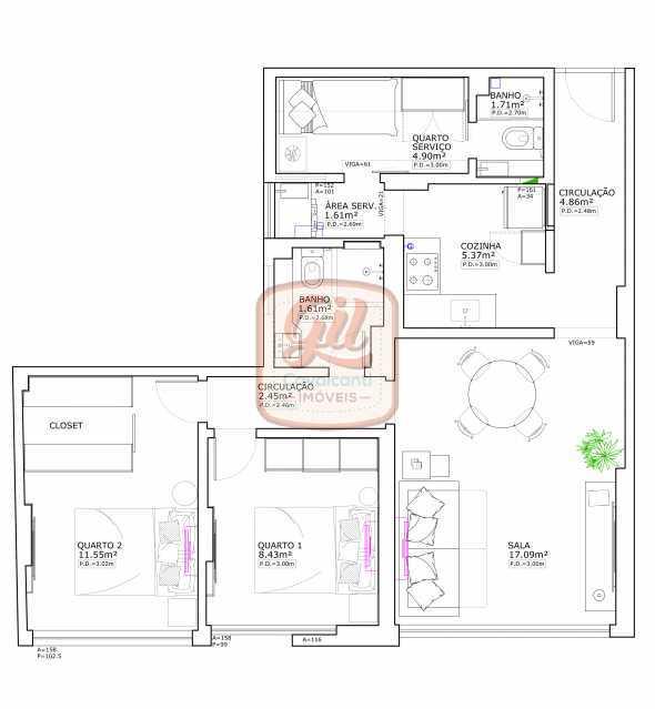 ap2172-PLANTA 1 - Apartamento 2 quartos à venda Copacabana, Rio de Janeiro - R$ 849.000 - AP2172 - 22