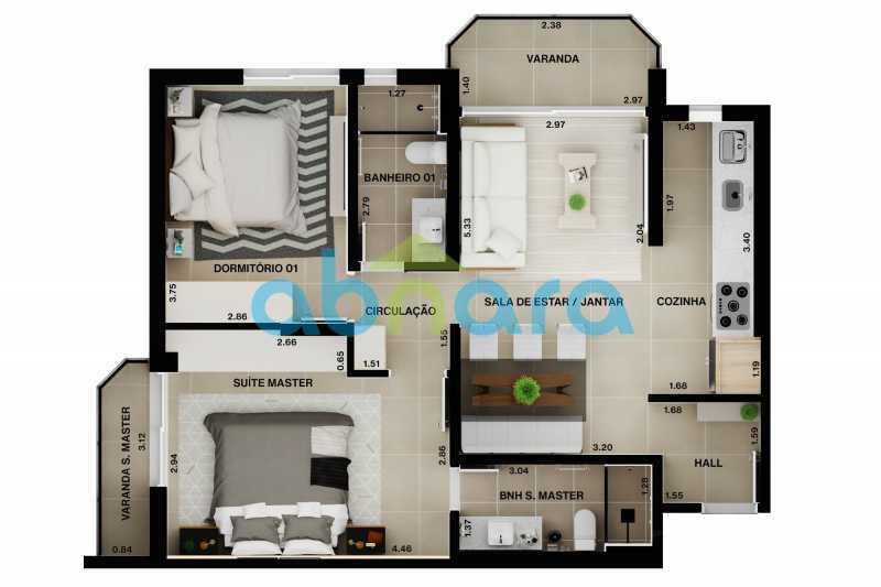 Planta - Apartamento À venda em Leblon, com 2 quartos, 70 m² - CPAP20524 - 10