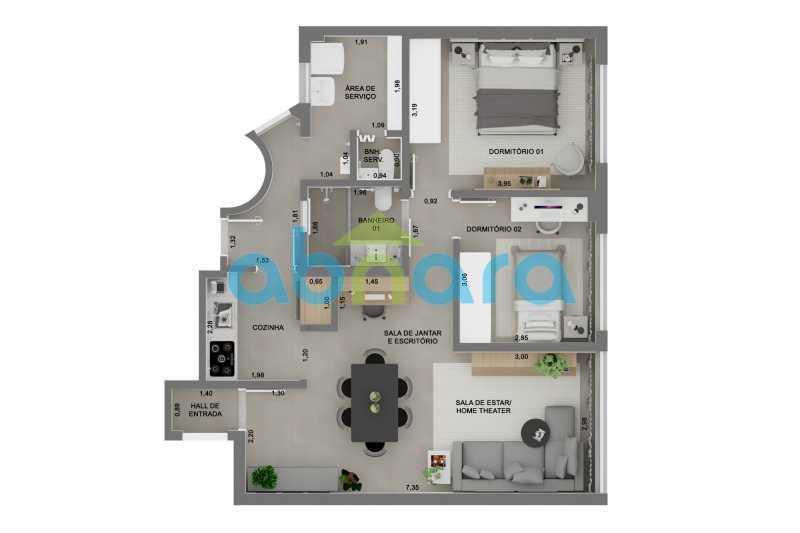 Planta - Apartamento À venda em Ipanema, com 2 quartos, 76 m² - CPAP20525 - 11