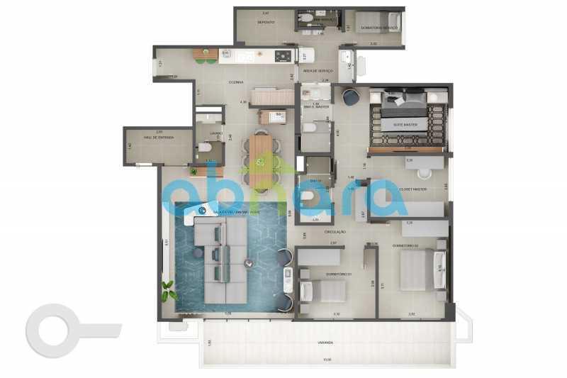 Planta - Apartamento À venda em Leblon, com 3 quartos, 153 m² - CPAP30816 - 11