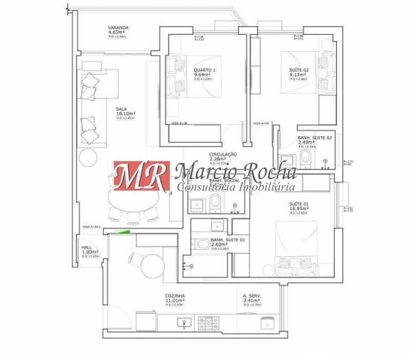 fotos-7 - Tijuca metrô, AP vazio, 85 m²,3 quartos 2suítes,2vagas - VLAP30131 - 7