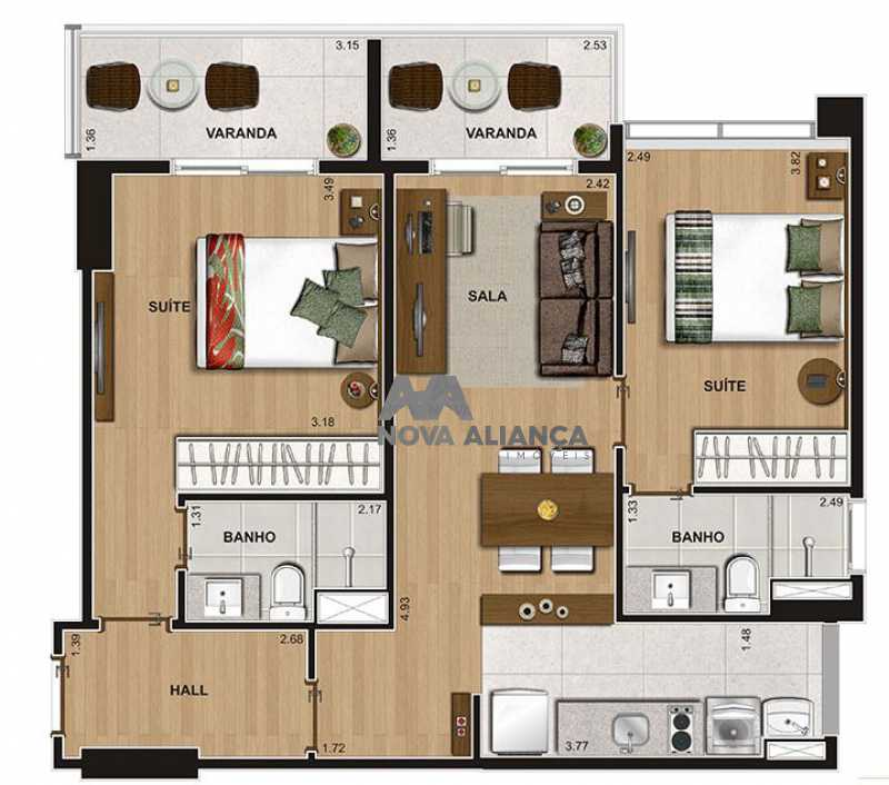 planta 1 - Apartamento à venda Estrada dos Bandeirantes,Curicica, Rio de Janeiro - R$ 330.000 - NIAP20856 - 26