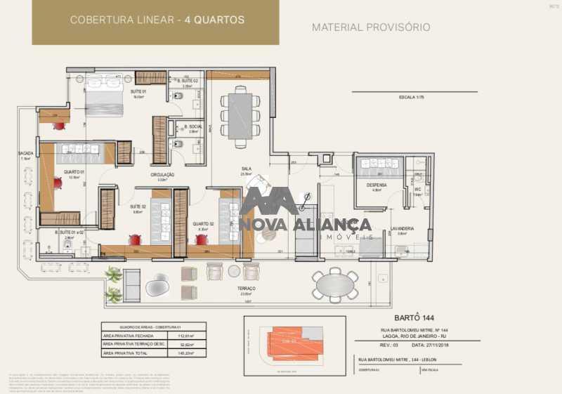 cobertura. - Cobertura à venda Avenida Bartolomeu Mitre,Leblon, Rio de Janeiro - R$ 4.861.791 - NICO40090 - 4