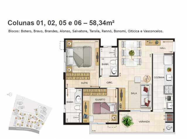 Planta 58,34 bl 3 - Apartamento à venda Estrada da Cachamorra,Campo Grande, Rio de Janeiro - R$ 358.360 - LMAP20033 - 22
