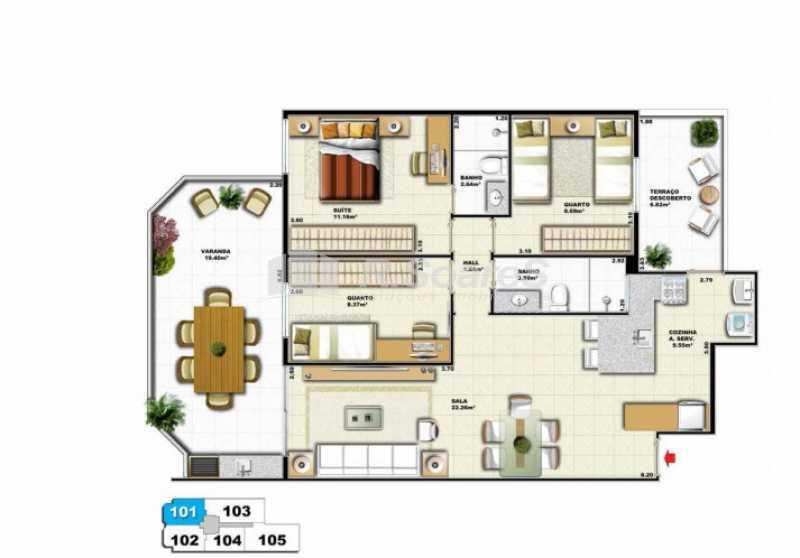 Planta 101 Garden - cortada - Lançamento de Apartamento Garden na Tijuca - BTAA30001 - 8