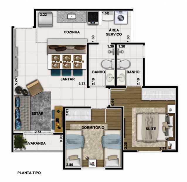 Planta - Apartamento Para Alugar - Itatiba - SP - Loteamento Santo Antônio - FCAP20647 - 18