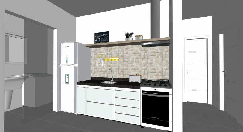 Cozinha e Lavanderia - Apartamento Lançamento Itatiba Hill Alta Vista Itatiba, Loteamento Morrão Da Força, SP, À Venda, 2 Quartos, 50m² - FCAP20782 - 4