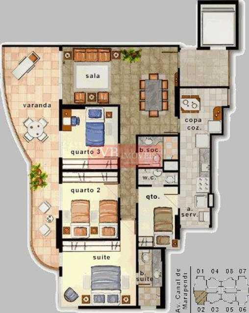 3. PLANTA DO APTO - Apartamento 3 quartos para alugar Barra da Tijuca, Rio de Janeiro - R$ 3.000 - 03025 - 25