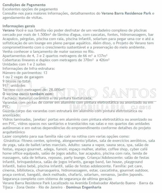INFORMAÇÕES TECNICAS - MARAVILHOSO APARTAMENTO EM CONDOMÍNIO NOVO NO RIO 2 VERANO - SSAP30536 - 8